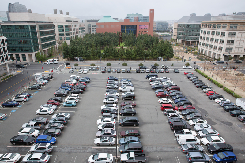Image of UCSF parking lot at Mission Bay campus.